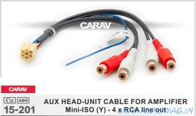 Carav 15-201 Mini-ISO (Y) - 4 x RCA line out)