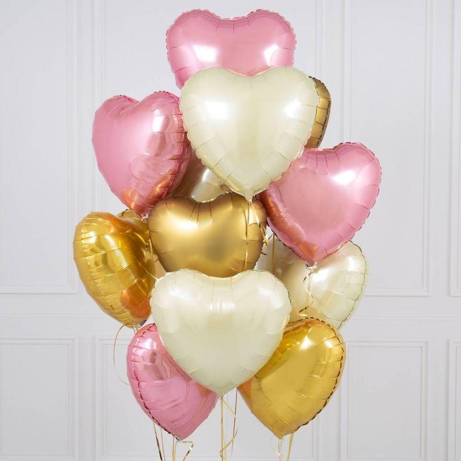 Сет из шаров  сердец -  розовые и золото 15 шт