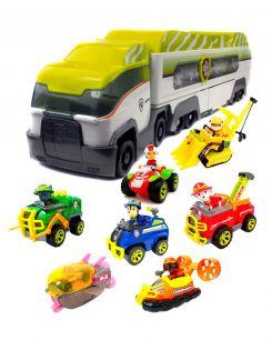 Большой зеленый Автовоз патрулевоз + райдер и команда из 6 спасателей (Джунгли) Щенячий патруль