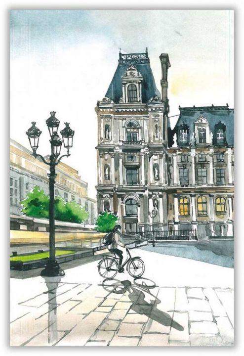 Велосипедист в Париже