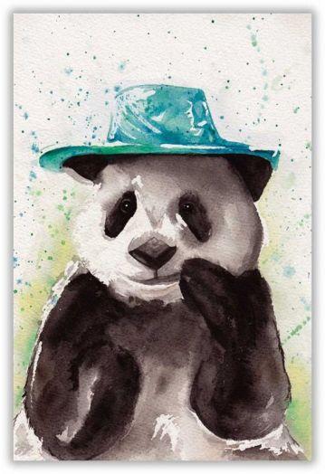 Панда в шляпе