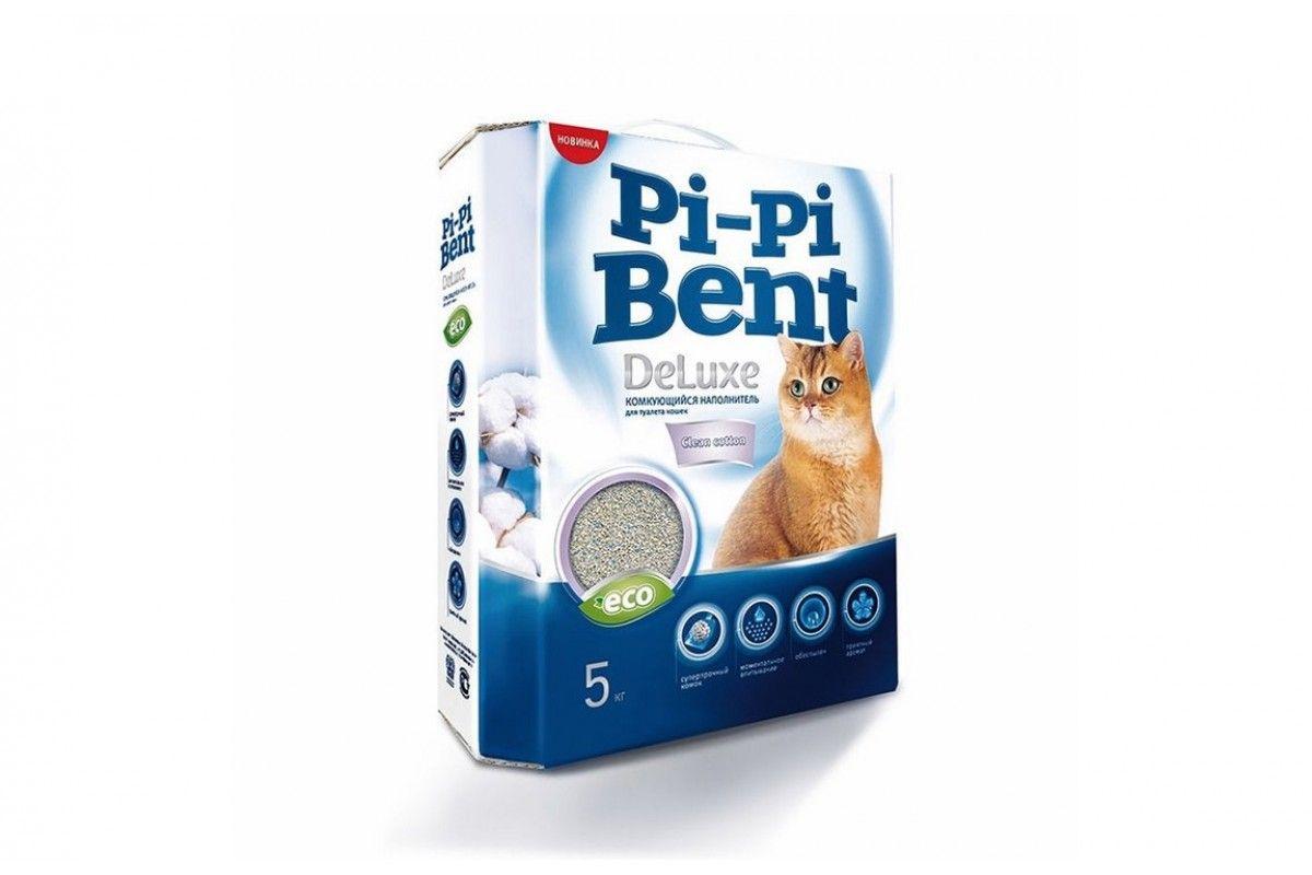 Пи-Пи-Бент DeLuxe Clean Cotton Наполнитель комкующийся 5 кг.