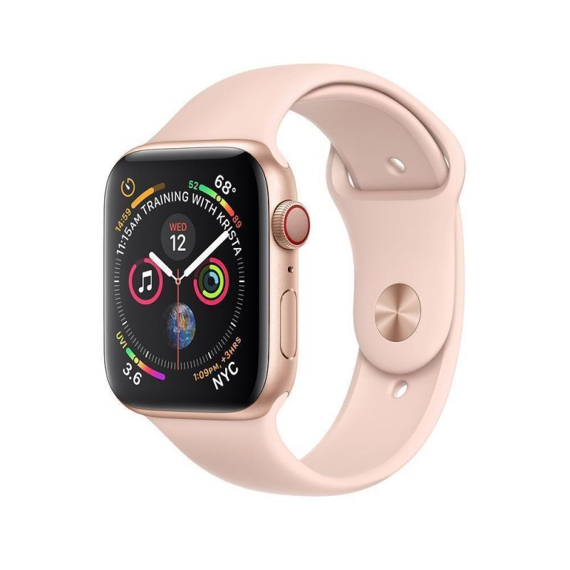 Apple Watch Series 4 40mm (GPS+Cellular) Gold Aluminum Case with Pink Sport Band (MTUJ2)
