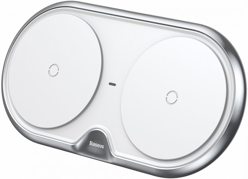 Беспроводное зарядное устройство Baseus Dual Wireless Charger With white CN Quick 3.0 Wall Charger&Cable as gift (WXXHJ-01, WXXHJ-0S)