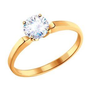 Узкое помолвочное кольцо из золота с фианитом 010184 SOKOLOV