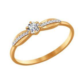 Помолвочное кольцо из золота с фианитами 016539 SOKOLOV