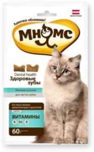 """МНЯМС хрустящие подушечки для кошек """"ЗДОРОВЫЕ ЗУБЫ""""  60 гр."""