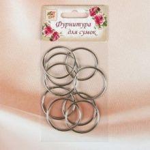 Кольца для сумок, d(внутренний) = 32 мм, 2,2 мм, 10 шт, цвет серебряный