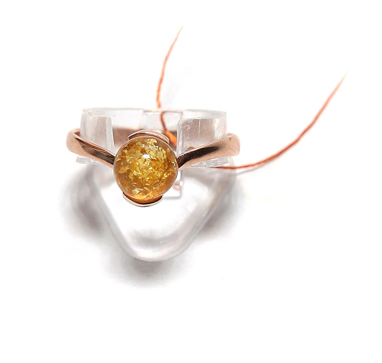 "Серебряное кольцо с янтарем ""Диадема"""