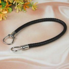 Ручка для сумки, кожаная, 55 см, цвет чёрный