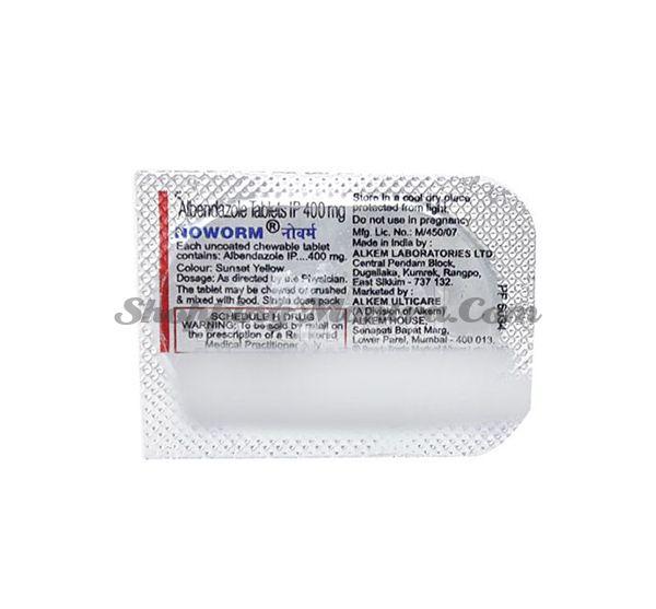 Противопаразитарный препарат Ноуворм Альбендазол 400мг Апрайс Алкем Лаб | Alkem Lab Noworm 400mg Tablet