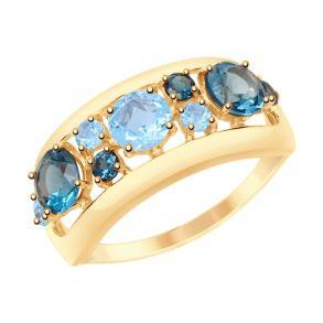 Кольцо из золота с голубыми и синими топазами 715088 SOKOLOV