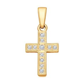 Крест из золота с бриллиантами 1120004 SOKOLOV