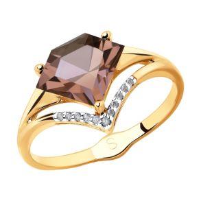 Кольцо из золота с ситаллом и фианитами 715351 SOKOLOV