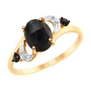 Кольцо из золота с чёрным агатом и бесцветными и чёрными фианитами 715238 SOKOLOV