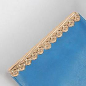 Декоративная окантовка для сумки, металлическая, 16 х 3,5 см, цвет золотой