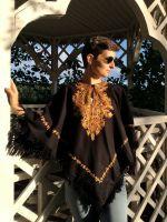 Шерстяное индийское кашмирское пончо. Купить в СПб тёплое женское пончо