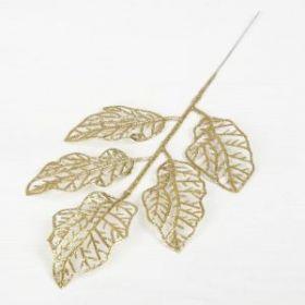 """Декор блеск """"Волнистые листья"""" 14*20 см, золото"""