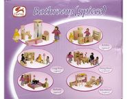 Набор игрушечной мебели деревянной. ВАННАЯ КОМНАТА (5 предметов) (арт. ИД-3817)