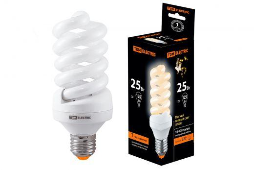 Лампа энергосберегающая КЛЛ-FS-25 Вт-2700 К–Е27 (60х141 мм) TDM