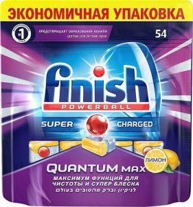 Qabyuyan maşın üçün tabletkalar Finish Quantum Max Limon  54 ədəd