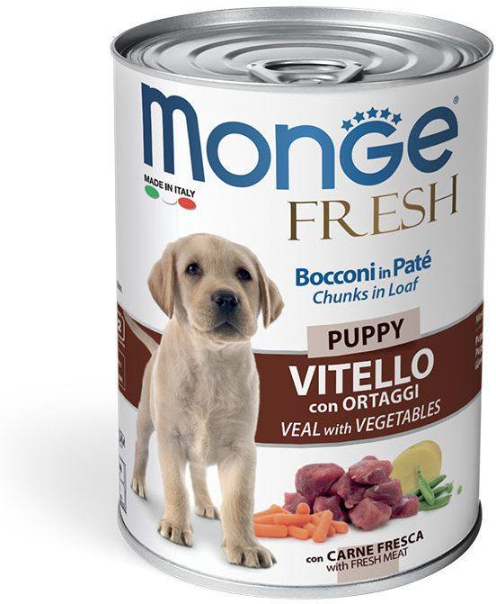 Monge Dog Fresh Chunks in Loaf консервы для щенков мясной рулет телятина с овощами 400 гр.