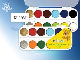 Акварель волшебная 12 цветов с блестками, пластмассовая упаковка (арт. TZ 8085)