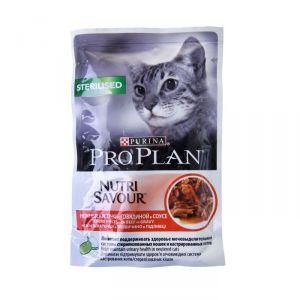 Консервы Pro Plan пауч кусочки в соусе для взрослых стерилизованных кошек с говядиной 85 гр.