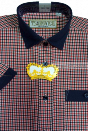 "Детская рубашка школьная,    ""ЦАРЕВИЧ"", оптом 10 шт., артикул: Graf28KR116-42-k"