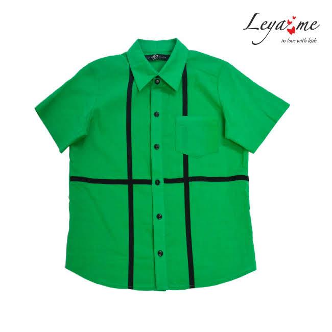 Рубашка зеленая с коротким рукавом мальч.