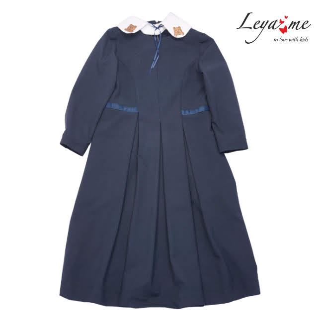 Платье со съемным декорированным воротником синее