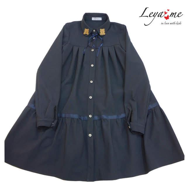 Платье-рубашка с оборкой и декором на воротнике синее