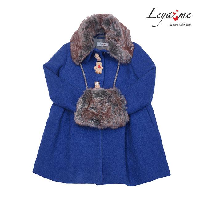 Пальто синее с мишками  и меховым воротником