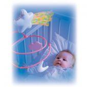 Игровая карусель в кроватку со световыми эффектами, розовая