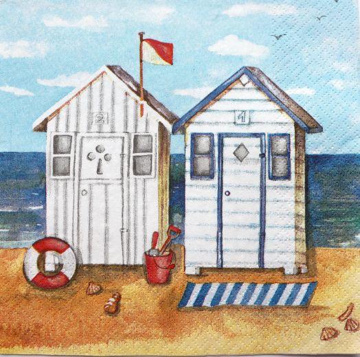 Салфетка бумажная 30*30 Пляжные домики и воздушные шары