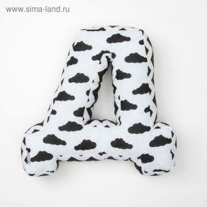 """Мягкая буква подушка """"Д"""" 35х37 см, белый, 100% хлопок, холлофайбер   3293902"""