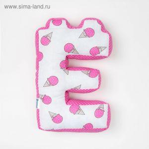 "Мягкая буква подушка ""Е"" 35х25 см, розовый, 100% хлопок, холлофайбер   3293918"