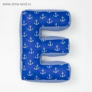 "Мягкая буква подушка ""Е"" 35х25 см, синий, 100% хлопок, холлофайбер   3293889"