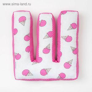 "Мягкая буква подушка ""Ш"" 35х22 см, розовый, 100% хлопок, холлофайбер   3293903"