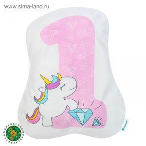 """Подушка """"Крошка Я"""" 1, 40х33 см, розовый, велюр, 100% п/э   4125430"""