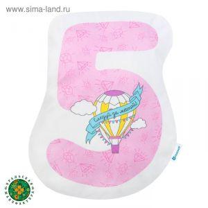 """Подушка """"Крошка Я"""" 5, 40х31 см, розовый, велюр, 100% п/э   4125434"""