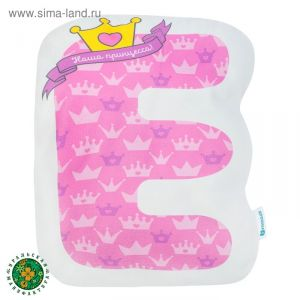 """Подушка """"Крошка Я"""" Е, 45х27 см, розовый, велюр, 100% п/э   4125415"""
