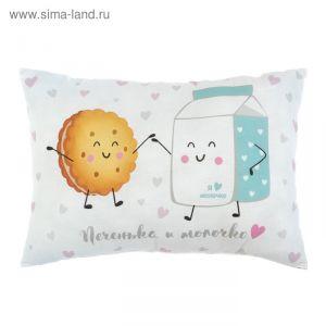"""Подушка """"Крошка Я"""" Печенька и молочко, 30х47 см, 100% хлопок, синтепон   3617357"""