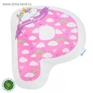 """Подушка """"Крошка Я"""" Р, 46х32 см, розовый, велюр, 100% п/э    4125428"""