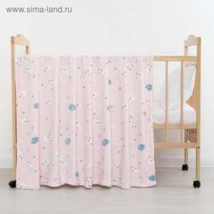 Плед «Барашки» цвет розовый 130х155 см, корал-флис, 230 г/м?, 100% пэ