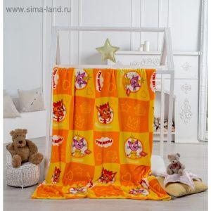 """Плед """"Павлинка"""" Три Кота, 170х100, цвет оранжевый, аэрософт 190гм, пэ100%"""