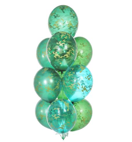Букет гелиевых шаров  зеленых камуфляжных 10 шт