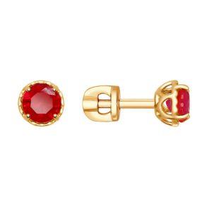 Серьги из золота с красными корундами (синт.) 725417 SOKOLOV