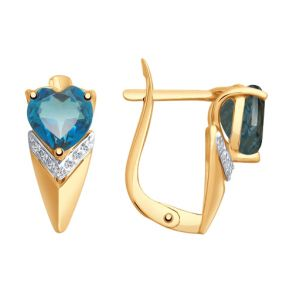 Серьги из золота с синими топазами и фианитами 725253 SOKOLOV