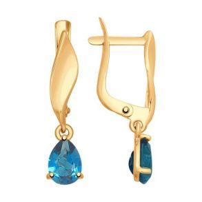 Серьги из золота с синими топазами 725166 SOKOLOV